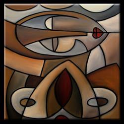 Art: Cubist 111 2424 Original Cubist Art Mama by Artist Thomas C. Fedro