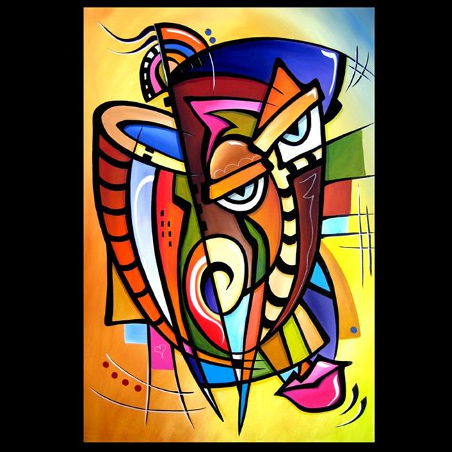 Art: Cubist 119 2436 Original Cubist Art Scratching Post by Artist Thomas C. Fedro