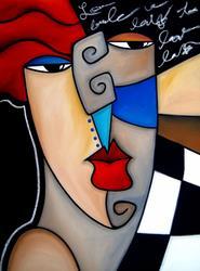 Art: Cubist 127 3040 Original Cubist Art Poker Face by Artist Thomas C. Fedro