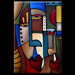 Art: Cubist 129 2436 Original Cubist Art Delight and Angers by Artist Thomas C. Fedro