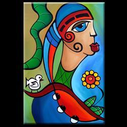 Art: Cubist 130 2436 Original Cubist Art To Be Free by Artist Thomas C. Fedro