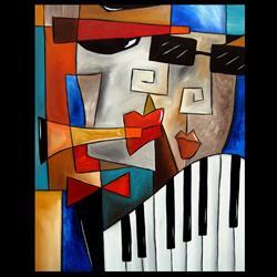 Art: Cubist 133 2228 Original Cubist Art Darned Tootin by Artist Thomas C. Fedro