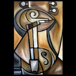 Art: Cubist 134 2436 Original Cubist Art Strings by Artist Thomas C. Fedro