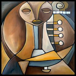 Art: Cubist 135 2424 Original Cubist Art Resounding by Artist Thomas C. Fedro