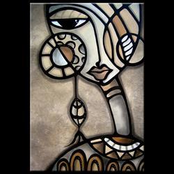 Art: Cubist 139 2436 GW Original Cubist Art Identity Crisis by Artist Thomas C. Fedro