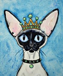 Art: Siamese Cat with Crown by Artist Melinda Dalke