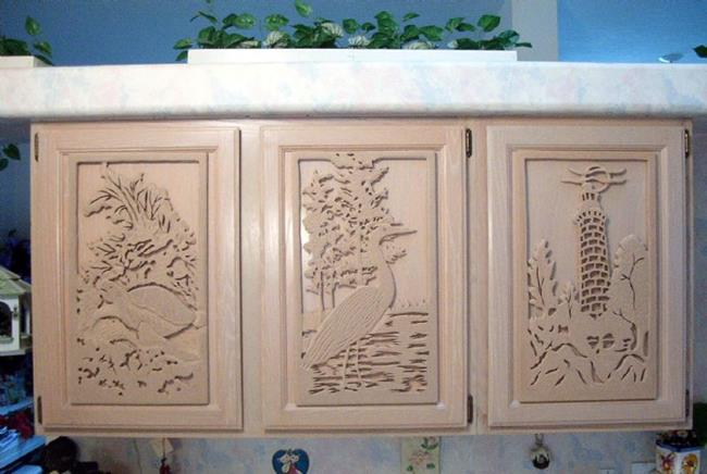 Custom made kitchen cabinet door plaques by gina stern for Custom cabinet doors