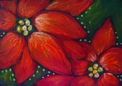 Art: HOLIDAY POINSETTIAS FLOWERS PAINTING ACEO by Artist Cyra R. Cancel