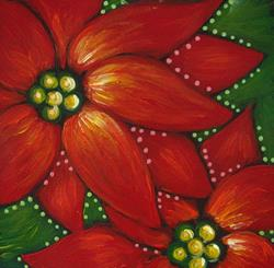 Art: HOLIDAY POINSETTIAS FLOWERS PAINTING 5 X 5 by Artist Cyra R. Cancel