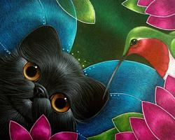 Art: FAIRY KITTEN CAT WITH HUMMINGBIRD by Artist Cyra R. Cancel