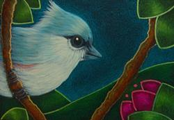 Art: TINY TITMOUSE BIRD IN MY GARDEN 2 by Artist Cyra R. Cancel