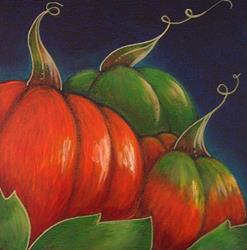 Art: AUTUMN PUMPKINS PAINTING 5 X 5 by Artist Cyra R. Cancel