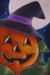 Art: HALLOWEEN PUMPKIN WITH WITCH HAT OSWOA 4 X 6 by Artist Cyra R. Cancel
