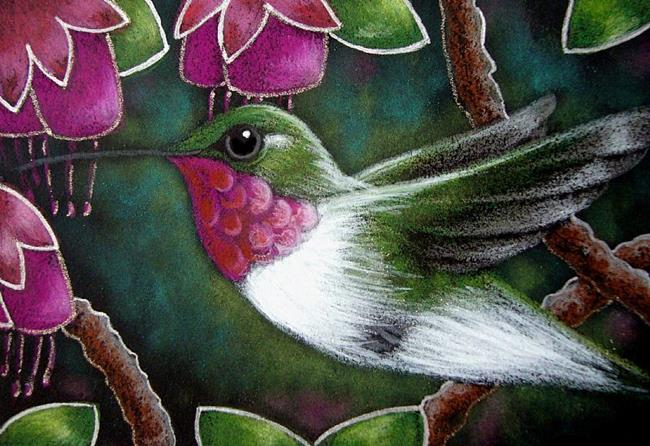Art: RUBY THROATED HUMMINGBIRD AND FUSCHIA FLOWERS by Artist Cyra R. Cancel