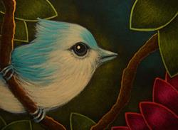 Art: TINY TITMOUSE BIRD IN MY GARDEN by Artist Cyra R. Cancel