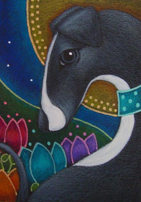 spring greyhound dog with halo in my garden by cyra r cancel from