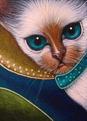 Art: ORIENTAL SIAMESE CAT WITH A GOLDEN HALO by Artist Cyra R. Cancel