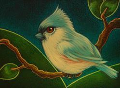 Art: TINY TITMOUSE BIRD IN MY GARDEN by Artist Cyra R. Cancel