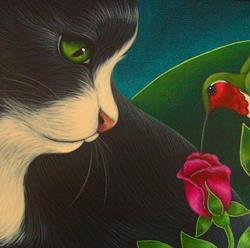 Art: TUXEDO CAT WATCHING A RUBY HUMMINGBIRD by Artist Cyra R. Cancel