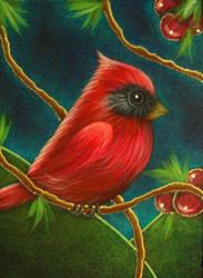 Art: TINY RED CARDINAL BIRD 2 by Artist Cyra R. Cancel
