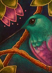 Art: VIOLET BILLIED HUMMINGBIRD IN MY GARDEN 2 by Artist Cyra R. Cancel