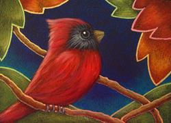 Art: RED CARDINAL BIRD WITH AUTUMN LEAVES by Artist Cyra R. Cancel