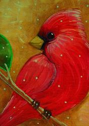 Art: RED CARDINAL BIRD 1ST SNOW by Artist Cyra R. Cancel