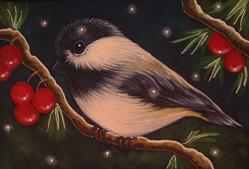 Art: HOLIDAY CHICKADEE BIRD WITH BERRIES 1ST SNOW OSWOA 4 X 6 by Artist Cyra R. Cancel