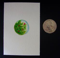 Art: QUARTER SIZE CHRISTMAS TREE with CARDINAL BIRD PAINTING ACEO by Artist Cyra R. Cancel
