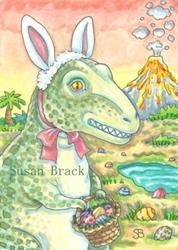 Art: T REX EASTER BUNNY by Artist Susan Brack