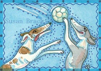 Art: VOLLEYBALL GREYHOUNDS by Artist Susan Brack