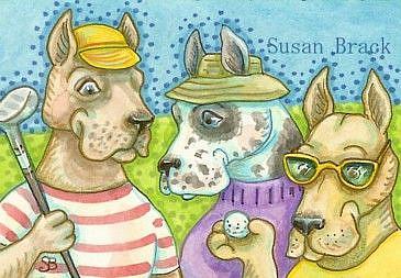 Art: GREAT DANES ON THE GREEN by Artist Susan Brack
