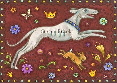 Art: WHIPPET AND HARE by Artist Susan Brack