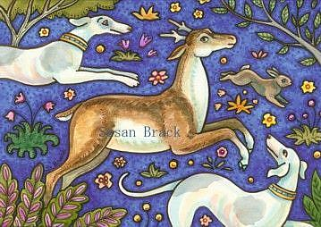 Art: STAG AND HOUNDS Original Susan Brack by Artist Susan Brack
