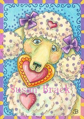 Art: VALENTINE POLKA DOT POODLE by Artist Susan Brack