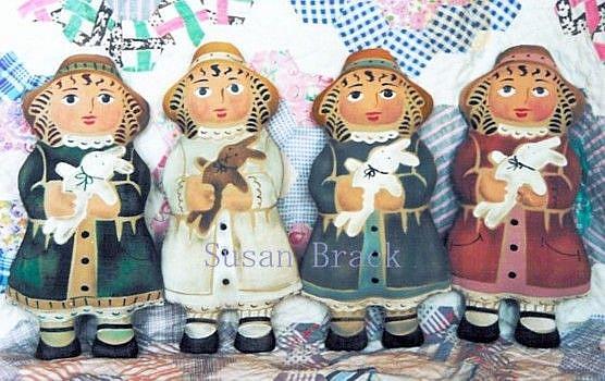 Art: GIRL AND RABBIT Stenciled Cloth Dolls by Artist Susan Brack