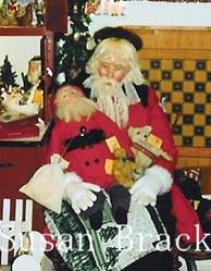 Art: Life Size Father Christmas Figure, Santa Doll and Bear by Artist Susan Brack