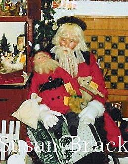 Art: Life Size Father Christmas Figure, Santa Doll and Bear by Artist Susan Brack