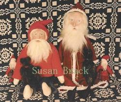 Art: Hand Sculpted Papier Mache Head Christmas Santa Dolls by Artist Susan Brack