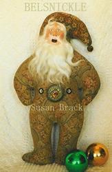 Art: PRIMITIVE Vintage Style BELSNICKLE Santa Doll figure by Artist Susan Brack