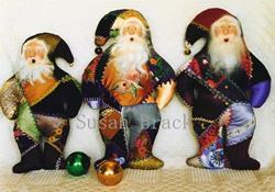 Art: Primitive CRAZY QUILT BELSNICKLE Santa DOLLS by Artist Susan Brack