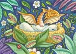 Art: VENUS FLYTRAPS AND HATCHING DRAGON by Artist Susan Brack
