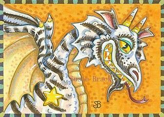 Art: DRAGON WITH A CANDY CORN GRIN by Artist Susan Brack