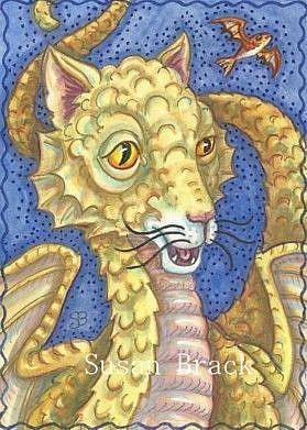 Art: CAT DRAGON AND FLYING FISH by Artist Susan Brack