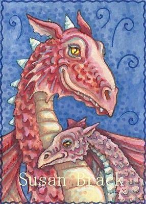 Art: RED DRAGON AND YOUNG by Artist Susan Brack
