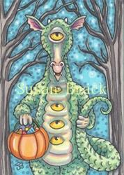 Art: TALE OF A CYCLOPS DRAGON ON HALLOWS EVE by Artist Susan Brack