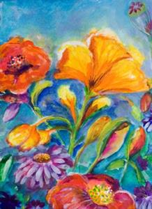Detail Image for art Flowers on Blue