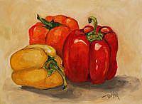 Art: Trio of Peppers by Artist Delilah Smith