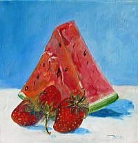 Art: Watermellon and Strawberries-sold by Artist Delilah Smith