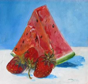 Detail Image for art Watermellon and Strawberries-sold